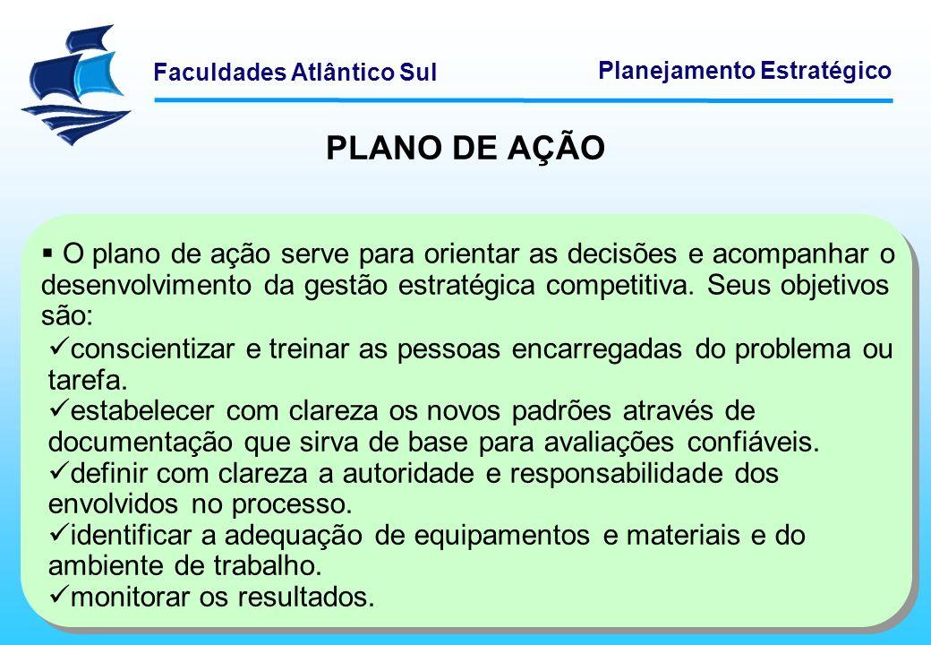 PLANO DE AÇÃO O plano de ação serve para orientar as decisões e acompanhar o desenvolvimento da gestão estratégica competitiva. Seus objetivos são: