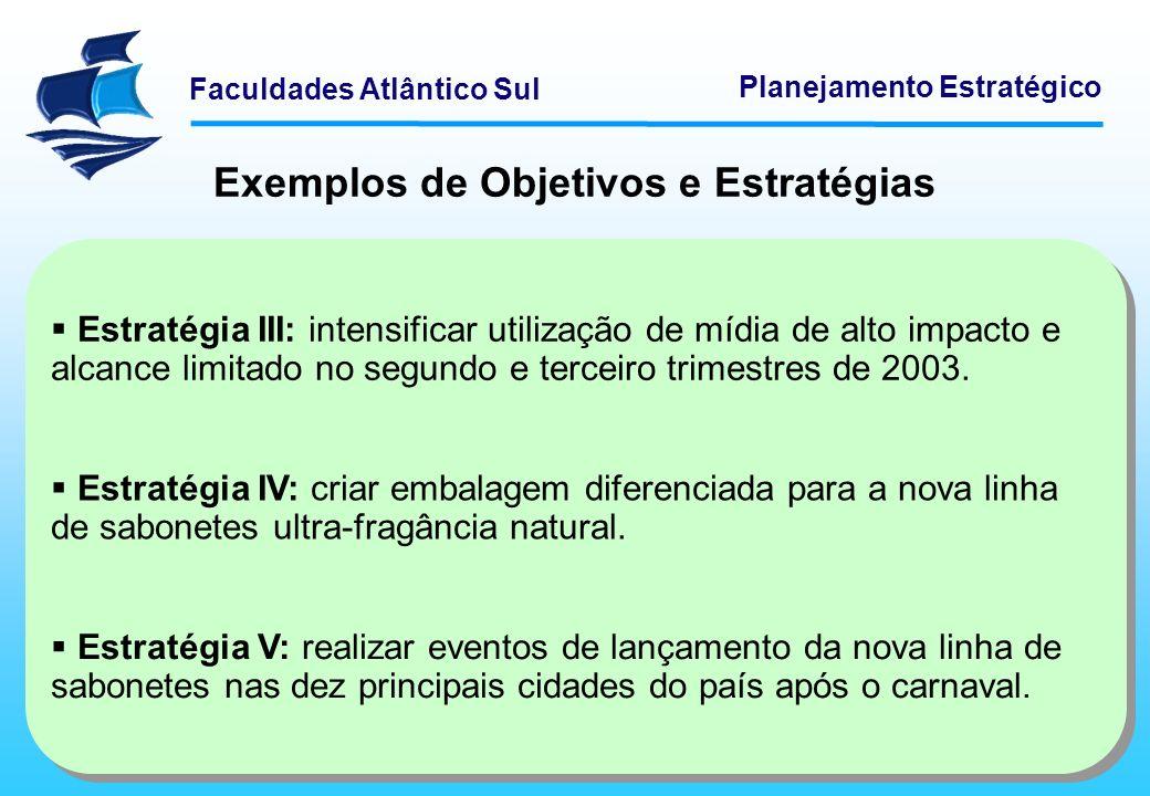 Exemplos de Objetivos e Estratégias
