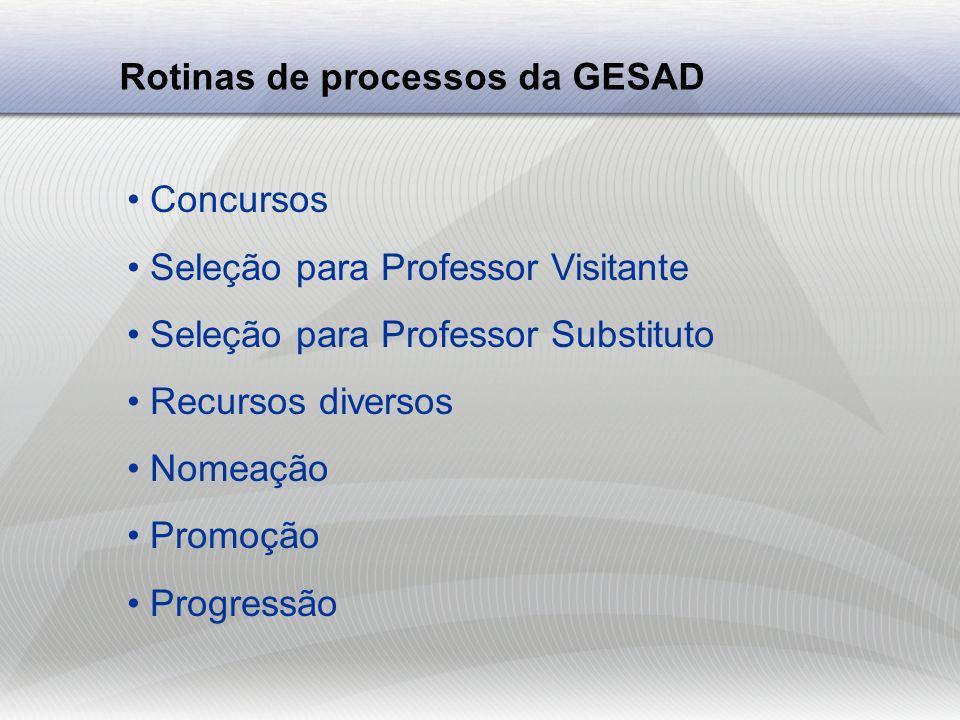 Rotinas de processos da GESAD