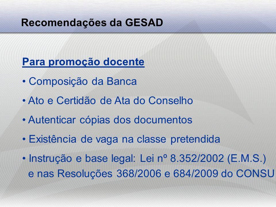 Recomendações da GESAD