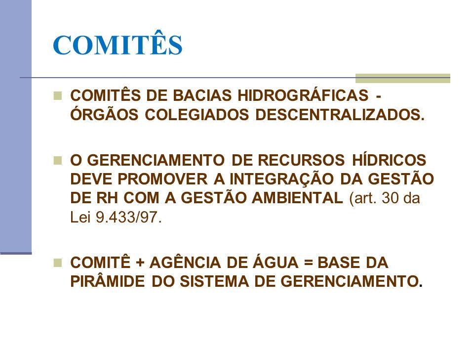 COMITÊS COMITÊS DE BACIAS HIDROGRÁFICAS - ÓRGÃOS COLEGIADOS DESCENTRALIZADOS.