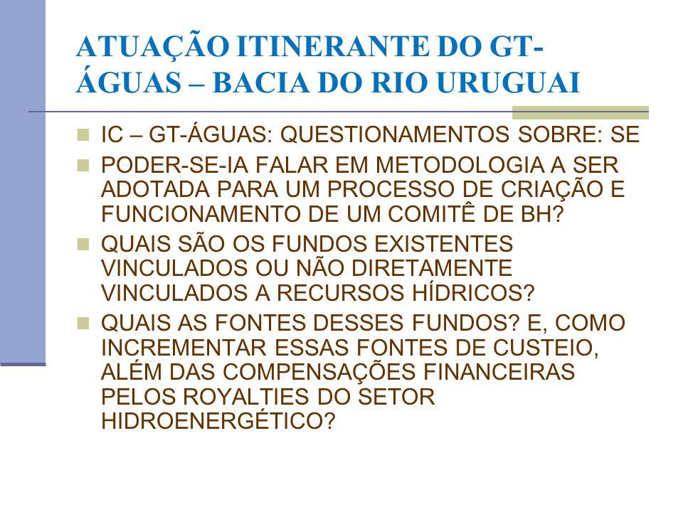 ATUAÇÃO ITINERANTE DO GT-ÁGUAS – BACIA DO RIO URUGUAI