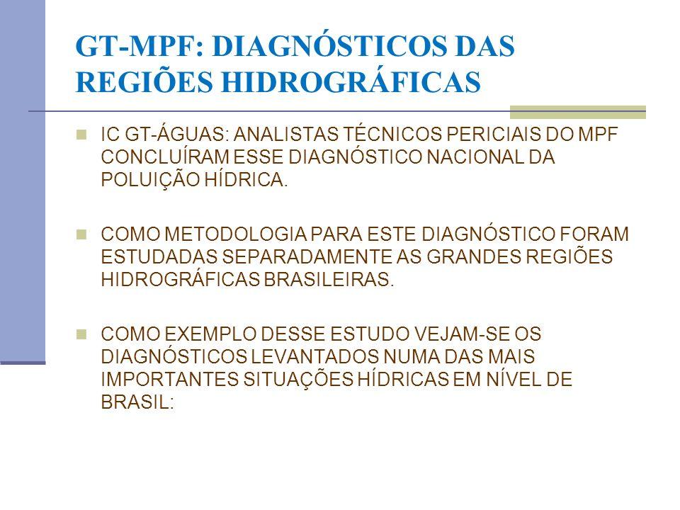 GT-MPF: DIAGNÓSTICOS DAS REGIÕES HIDROGRÁFICAS