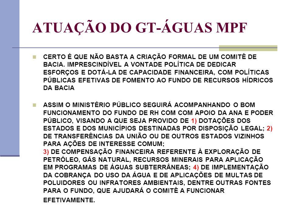 ATUAÇÃO DO GT-ÁGUAS MPF