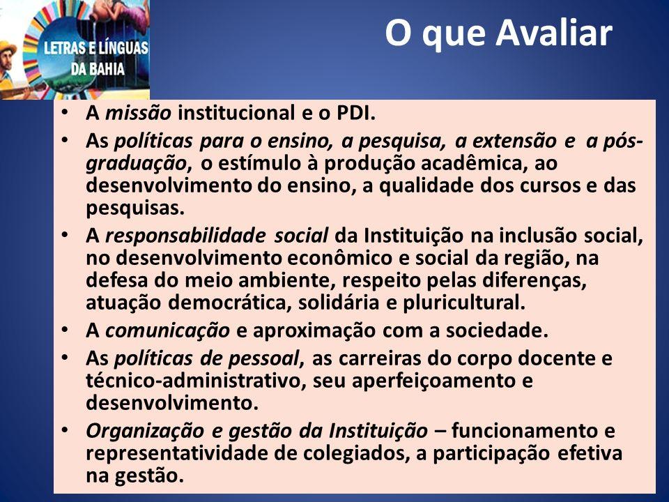 O que Avaliar A missão institucional e o PDI.