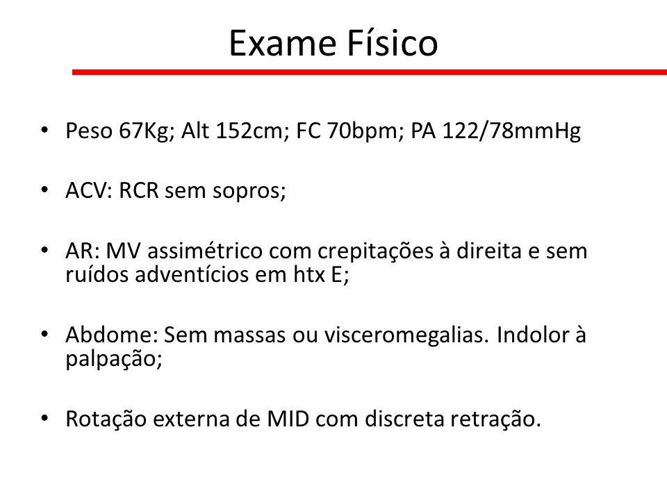 Exame Físico Peso 67Kg; Alt 152cm; FC 70bpm; PA 122/78mmHg