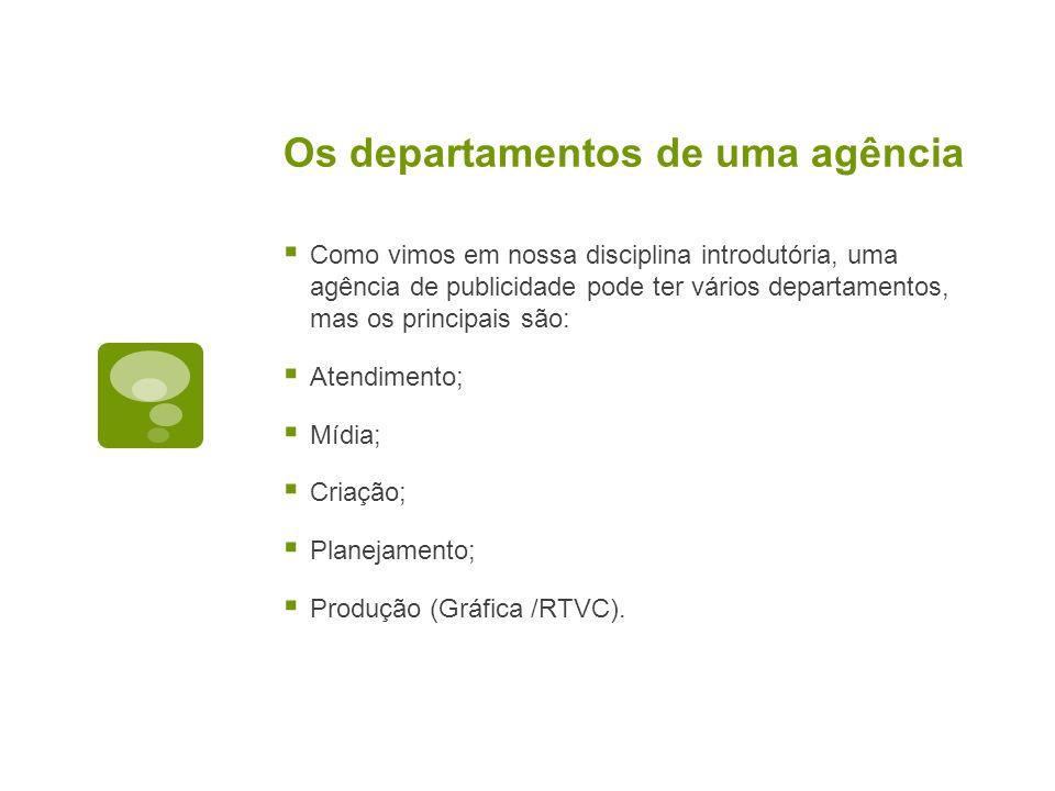 Os departamentos de uma agência