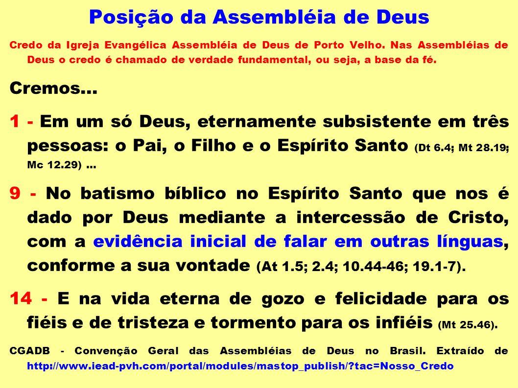 Posição da Assembléia de Deus