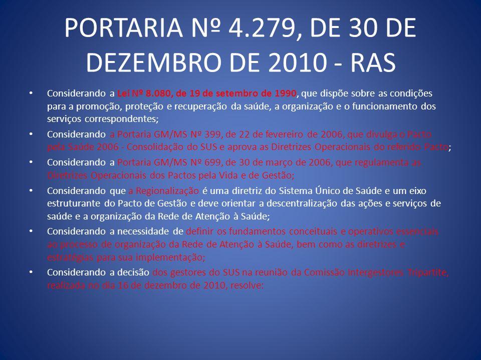 PORTARIA Nº 4.279, DE 30 DE DEZEMBRO DE 2010 - RAS