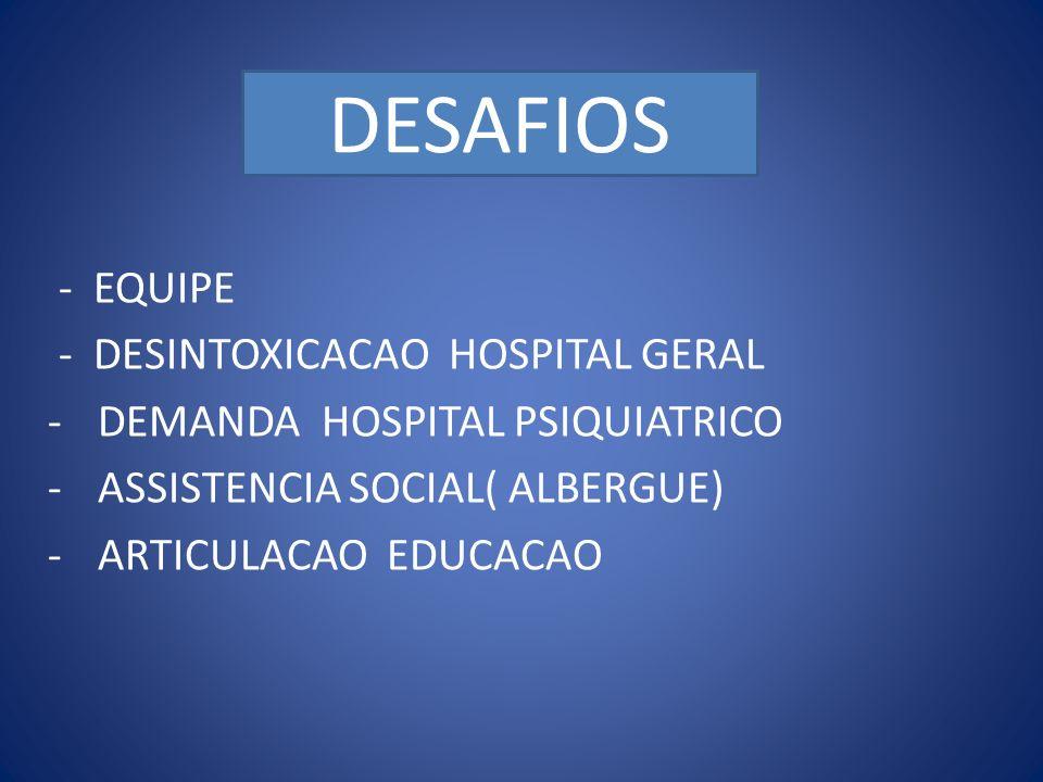 DESAFIOS DESAFIOS … - EQUIPE - DESINTOXICACAO HOSPITAL GERAL