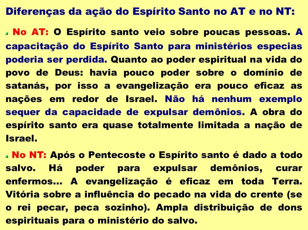 Diferenças da ação do Espírito Santo no AT e no NT: