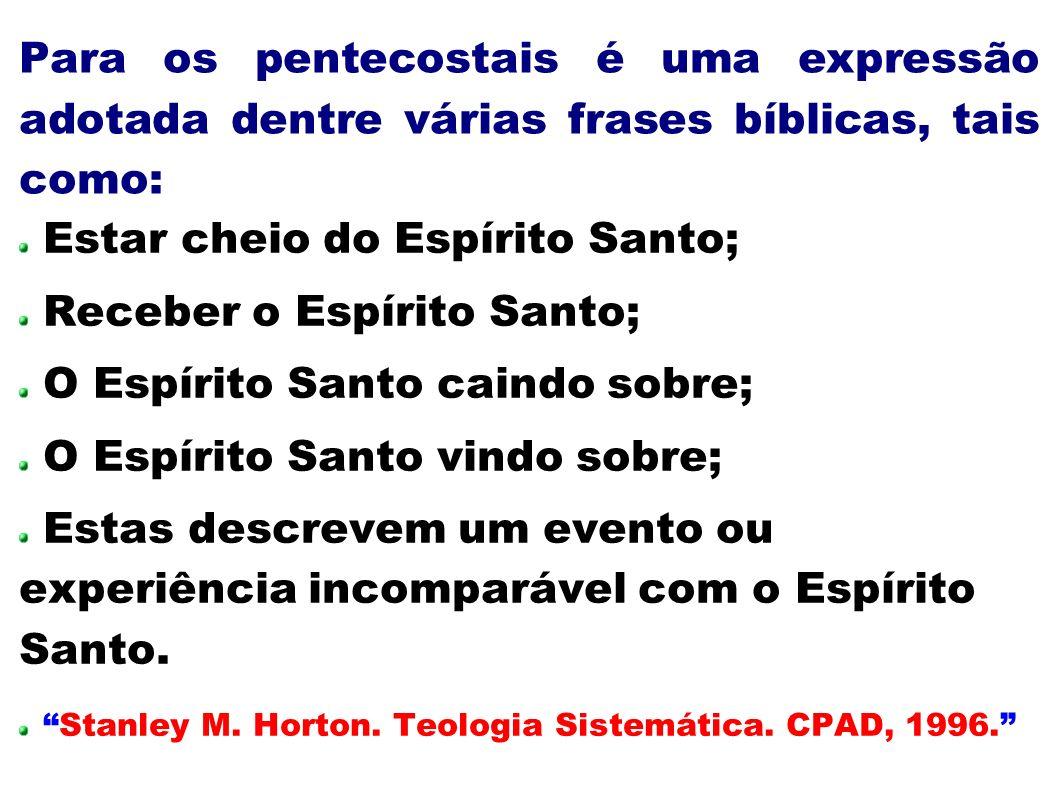 Para os pentecostais é uma expressão adotada dentre várias frases bíblicas, tais como: