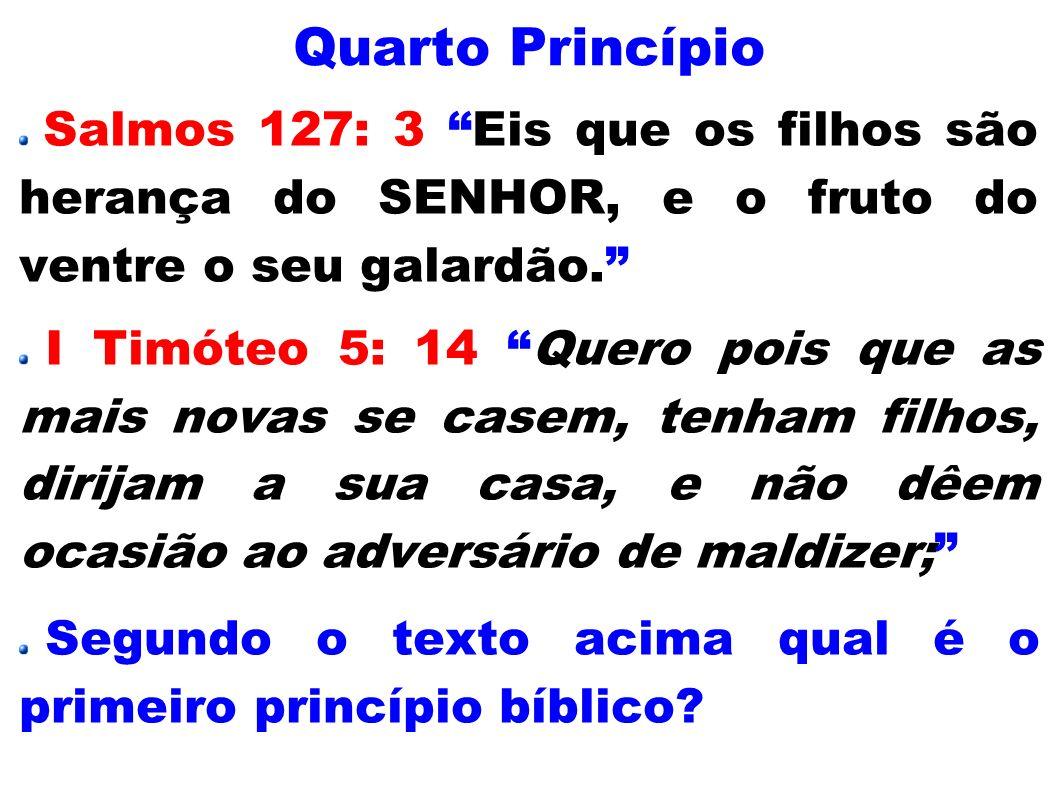 Quarto PrincípioSalmos 127: 3 Eis que os filhos são herança do SENHOR, e o fruto do ventre o seu galardão.