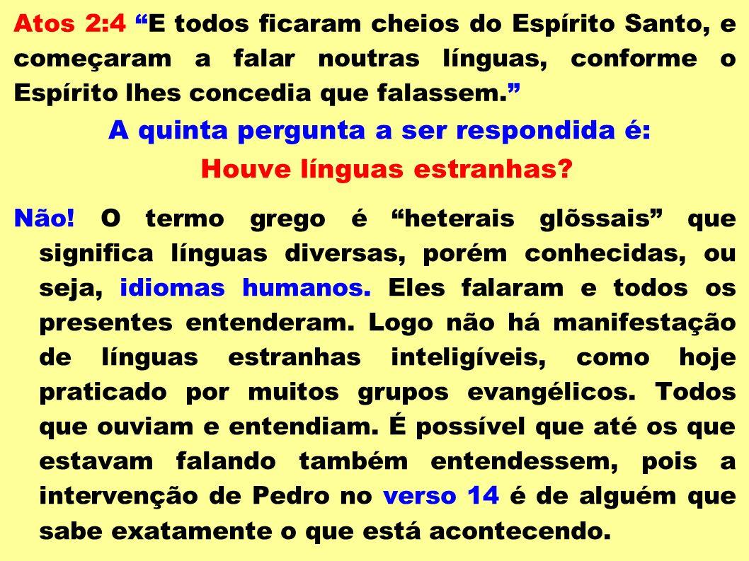 A quinta pergunta a ser respondida é: Houve línguas estranhas