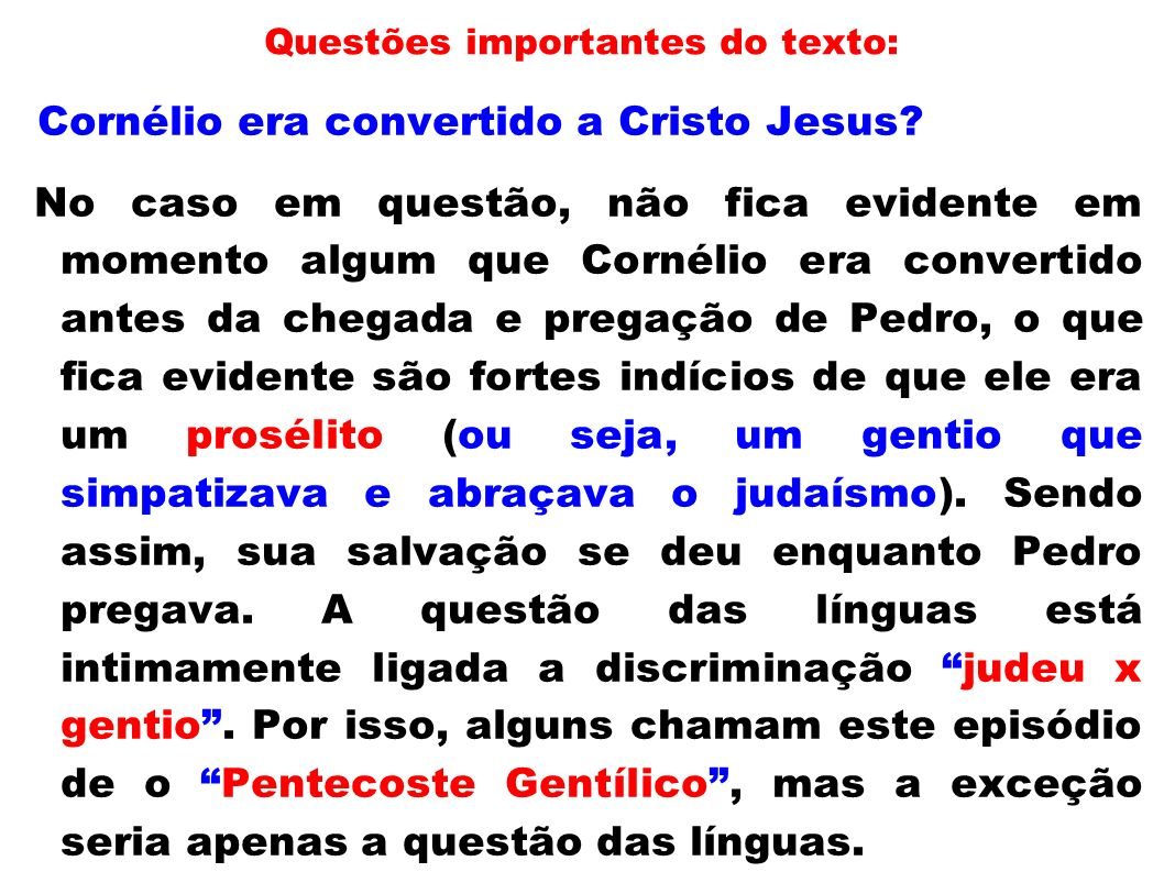 Questões importantes do texto: