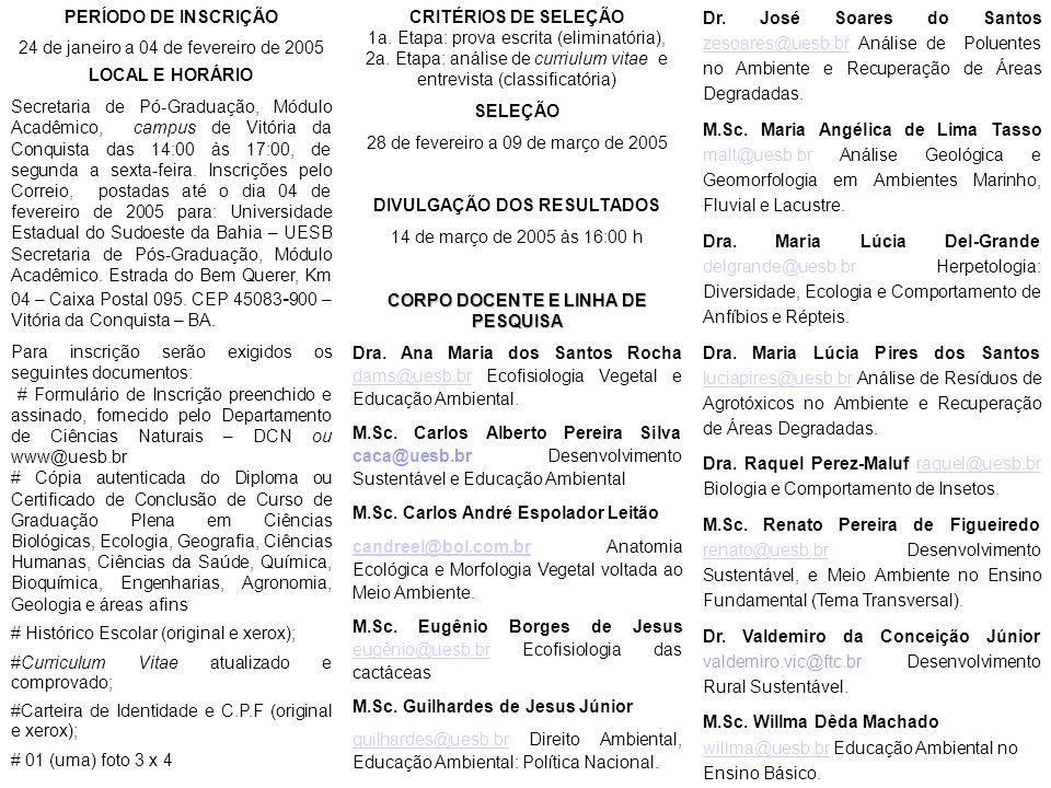 DIVULGAÇÃO DOS RESULTADOS CORPO DOCENTE E LINHA DE PESQUISA