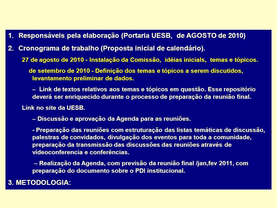 Responsáveis pela elaboração (Portaria UESB, de AGOSTO de 2010)