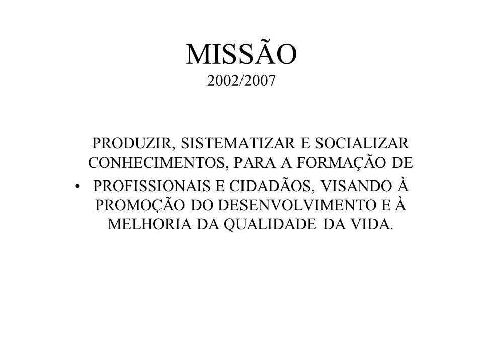 MISSÃO 2002/2007 ESTABELECER A MISSÃO: A missão PRODUZIR, SISTEMATIZAR E SOCIALIZAR CONHECIMENTOS, PARA A FORMAÇÃO DE.