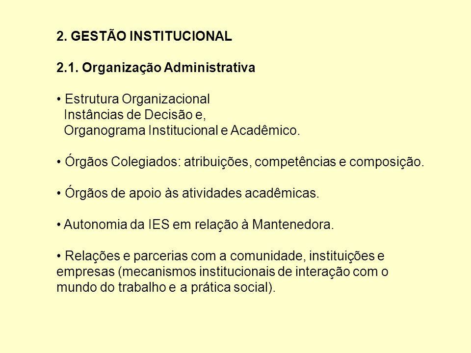 2. GESTÃO INSTITUCIONAL 2.1. Organização Administrativa. • Estrutura Organizacional. Instâncias de Decisão e,