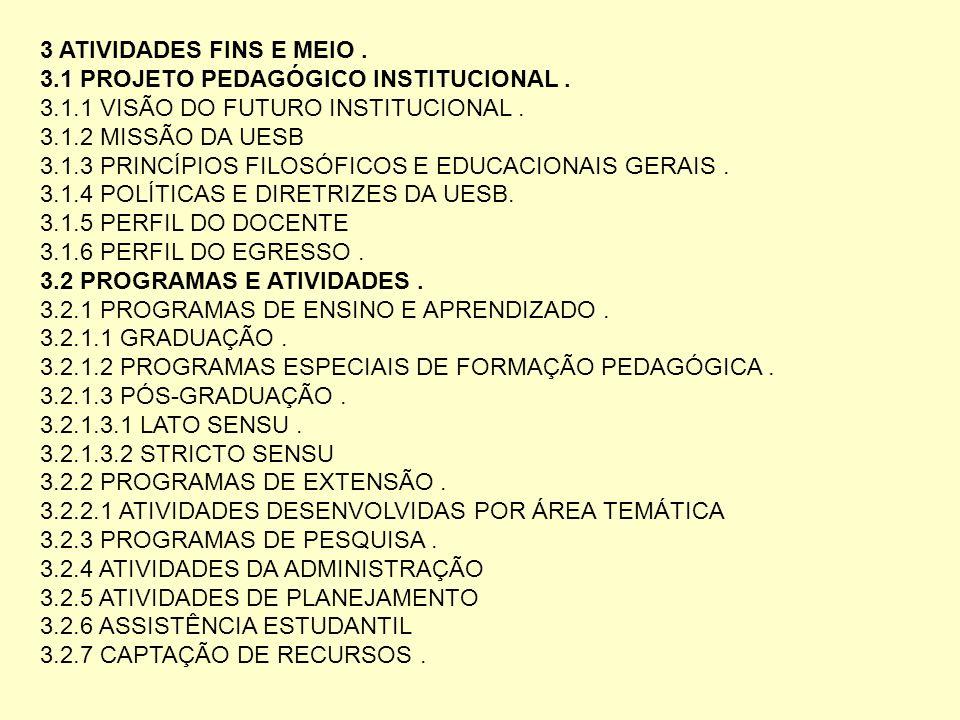 3 ATIVIDADES FINS E MEIO . 3.1 PROJETO PEDAGÓGICO INSTITUCIONAL . 3.1.1 VISÃO DO FUTURO INSTITUCIONAL .