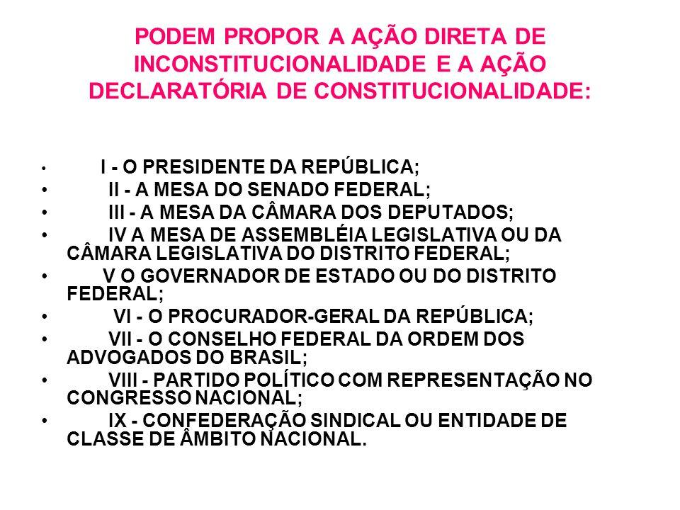 PODEM PROPOR A AÇÃO DIRETA DE INCONSTITUCIONALIDADE E A AÇÃO DECLARATÓRIA DE CONSTITUCIONALIDADE: