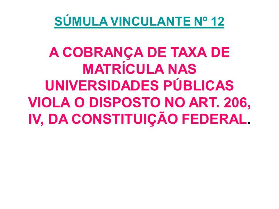 SÚMULA VINCULANTE Nº 12 A COBRANÇA DE TAXA DE MATRÍCULA NAS UNIVERSIDADES PÚBLICAS VIOLA O DISPOSTO NO ART.