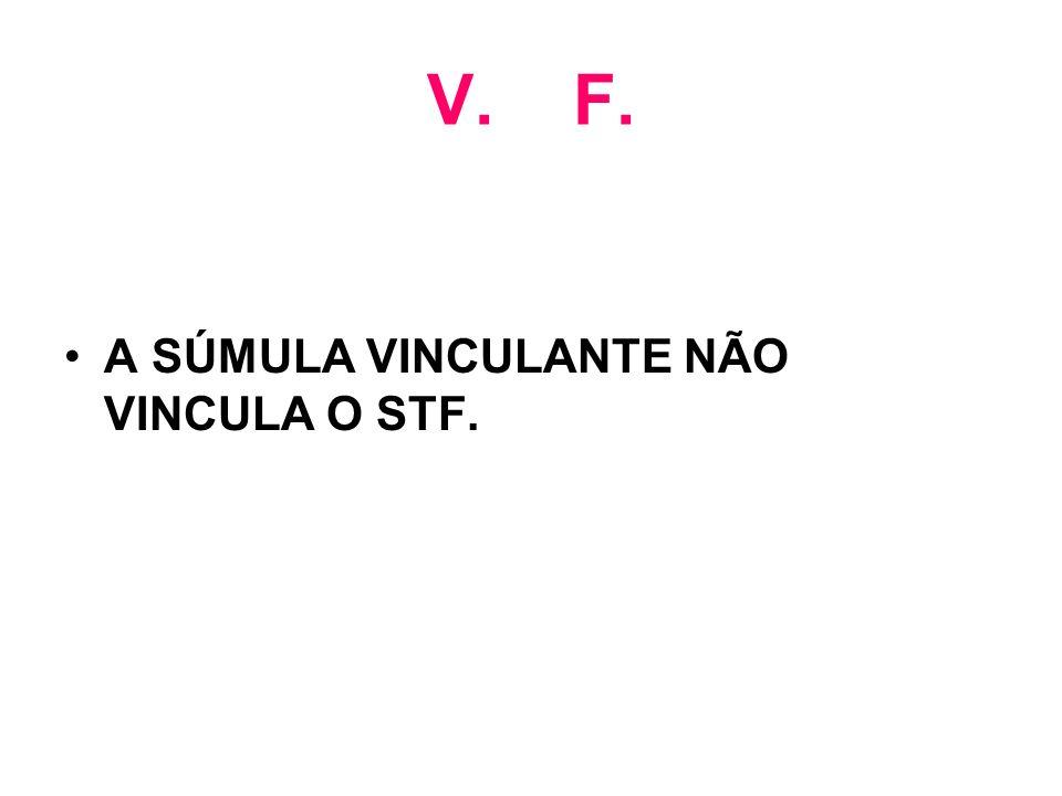 V. F. A SÚMULA VINCULANTE NÃO VINCULA O STF.