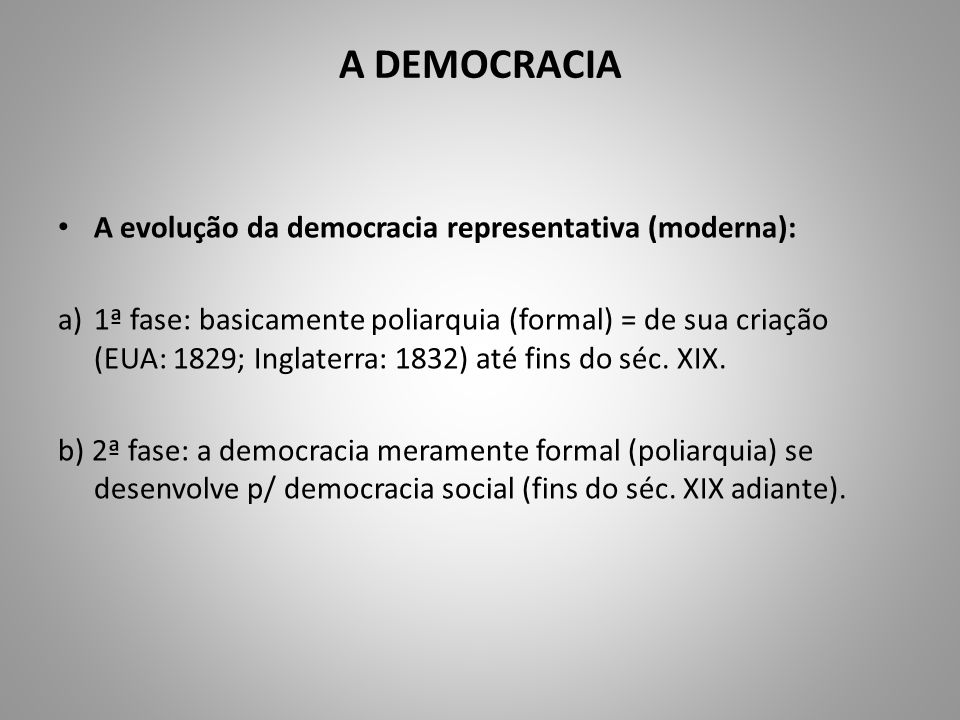 A DEMOCRACIA A evolução da democracia representativa (moderna):