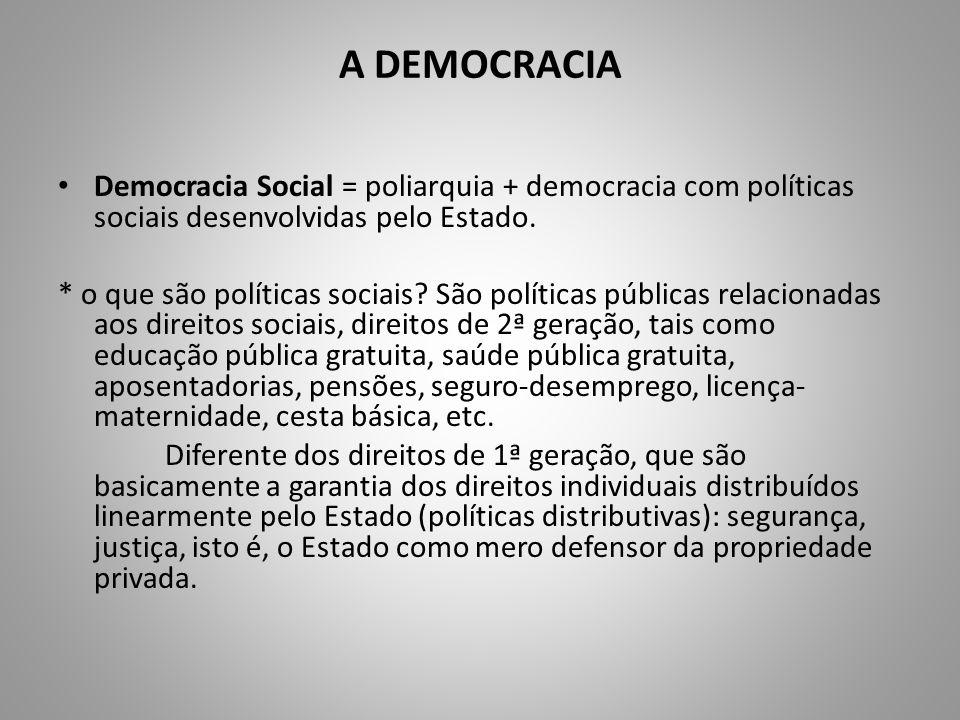 A DEMOCRACIA Democracia Social = poliarquia + democracia com políticas sociais desenvolvidas pelo Estado.