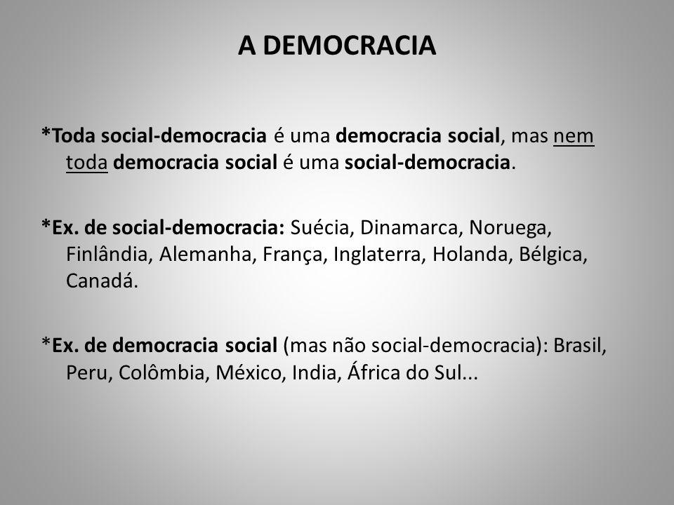 A DEMOCRACIA *Toda social-democracia é uma democracia social, mas nem toda democracia social é uma social-democracia.