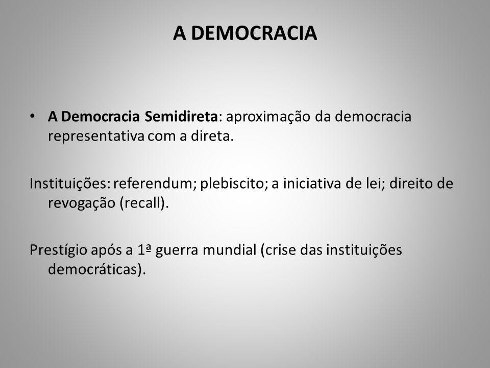 A DEMOCRACIA A Democracia Semidireta: aproximação da democracia representativa com a direta.