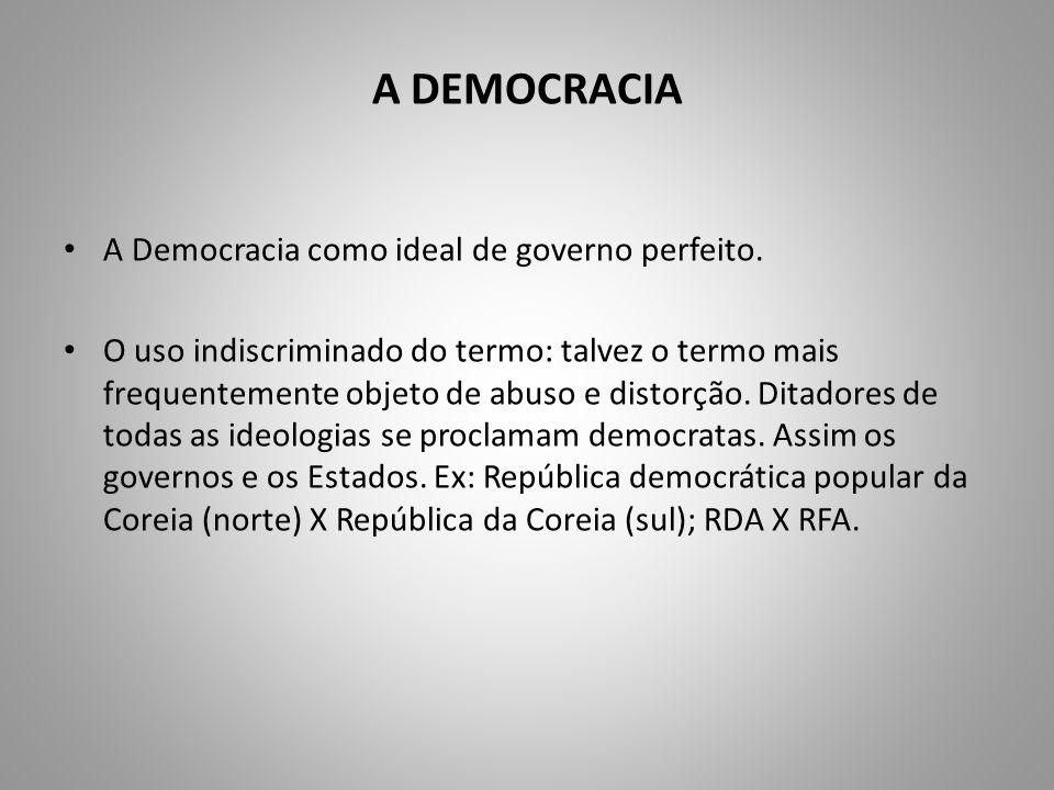 A DEMOCRACIA A Democracia como ideal de governo perfeito.