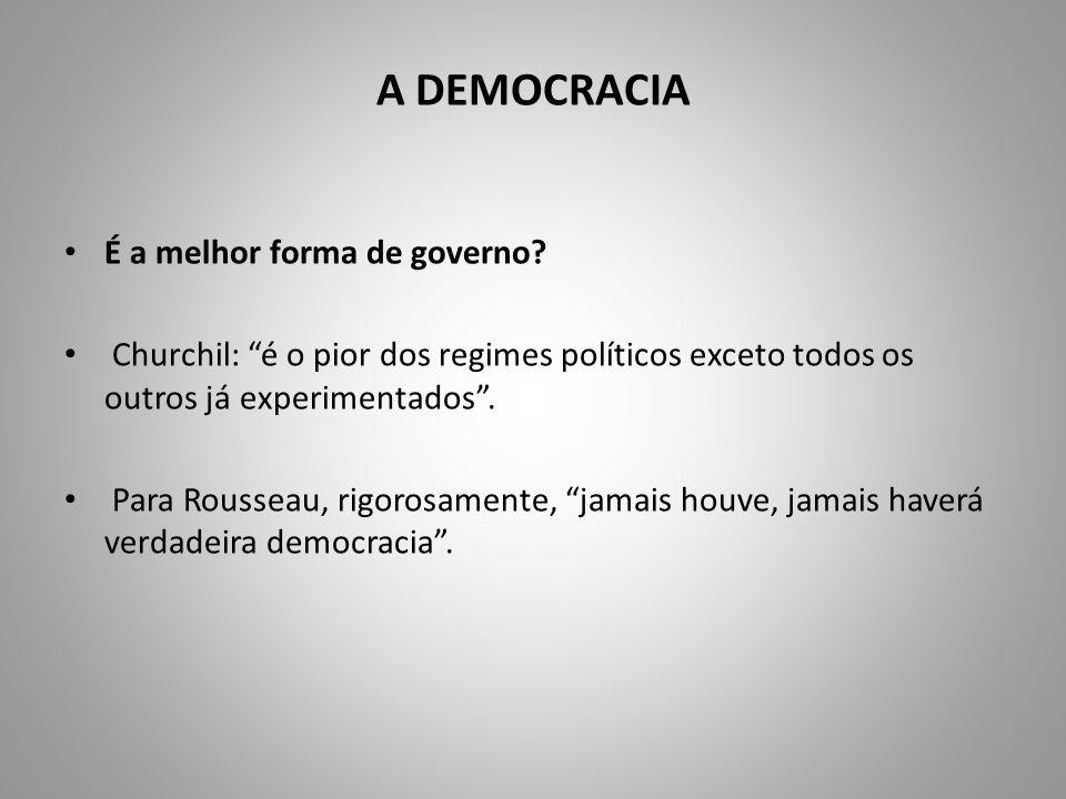 A DEMOCRACIA É a melhor forma de governo