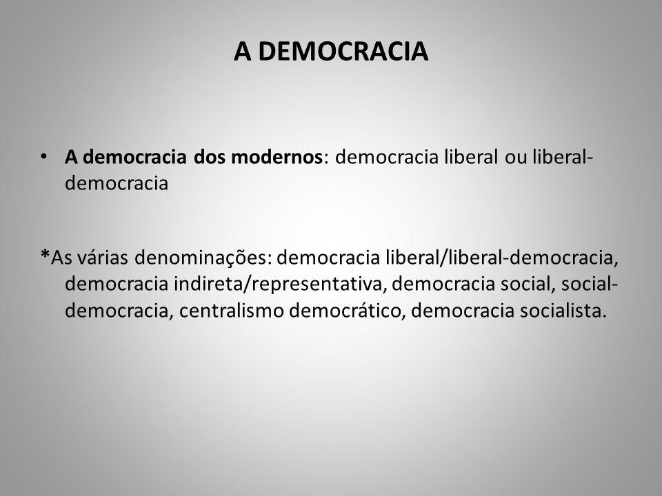 A DEMOCRACIA A democracia dos modernos: democracia liberal ou liberal-democracia.