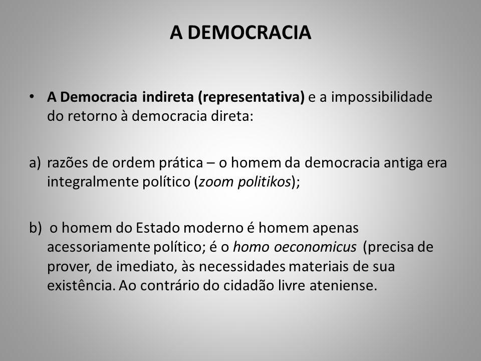 A DEMOCRACIA A Democracia indireta (representativa) e a impossibilidade do retorno à democracia direta: