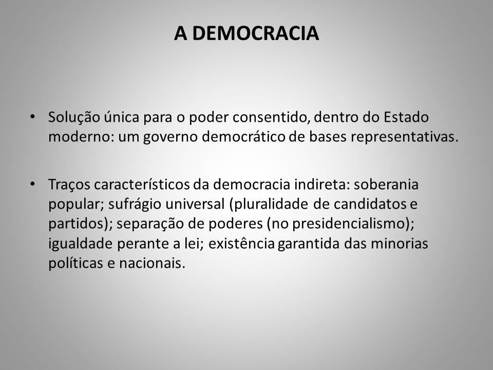 A DEMOCRACIA Solução única para o poder consentido, dentro do Estado moderno: um governo democrático de bases representativas.