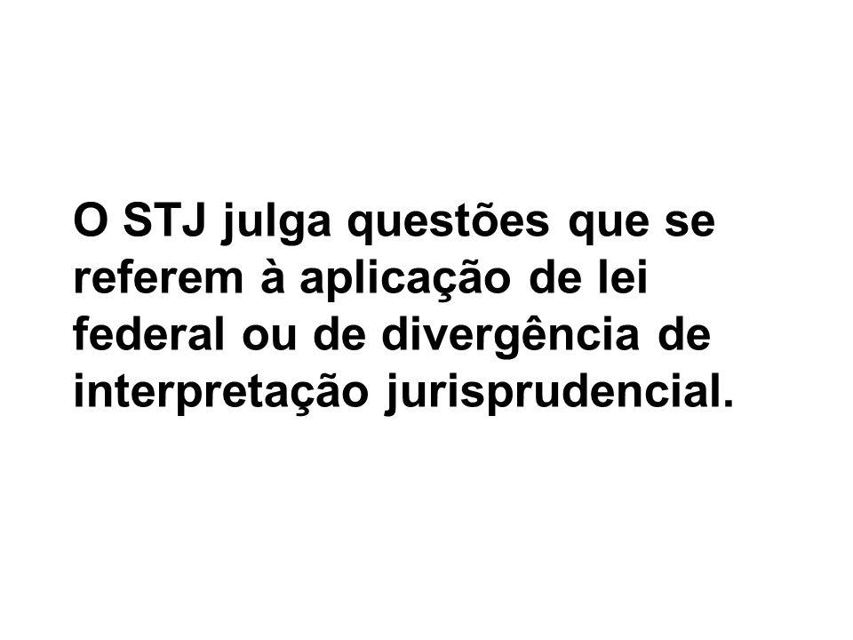 O STJ julga questões que se referem à aplicação de lei federal ou de divergência de interpretação jurisprudencial.
