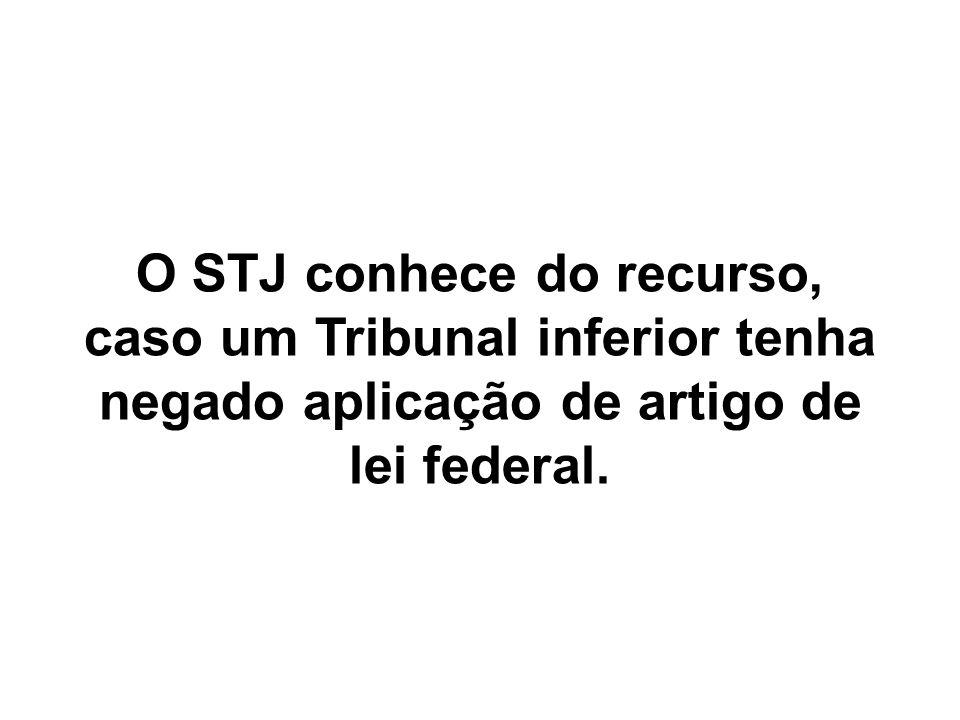 O STJ conhece do recurso, caso um Tribunal inferior tenha negado aplicação de artigo de lei federal.