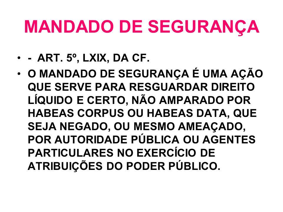 MANDADO DE SEGURANÇA - ART. 5º, LXIX, DA CF.