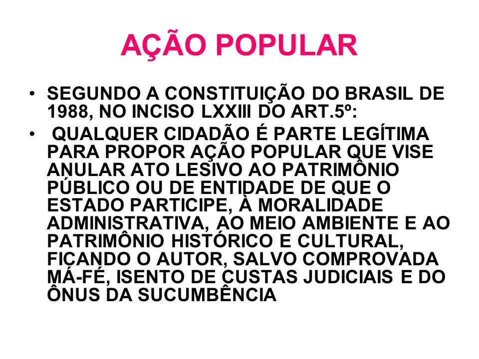 AÇÃO POPULAR SEGUNDO A CONSTITUIÇÃO DO BRASIL DE 1988, NO INCISO LXXIII DO ART.5º:
