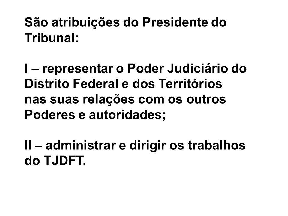 São atribuições do Presidente do Tribunal:
