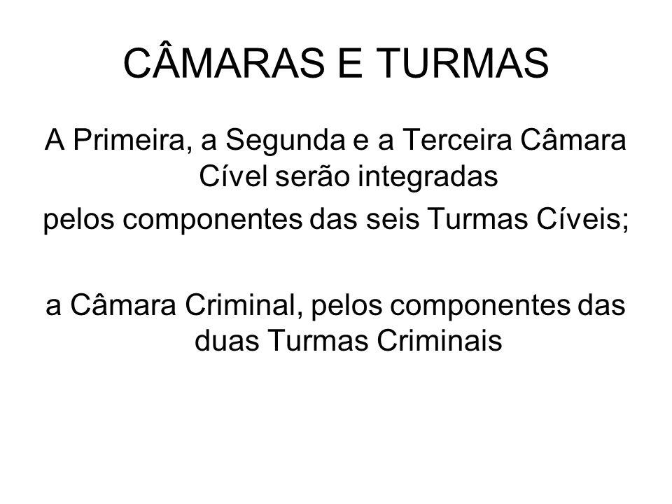 CÂMARAS E TURMASA Primeira, a Segunda e a Terceira Câmara Cível serão integradas. pelos componentes das seis Turmas Cíveis;