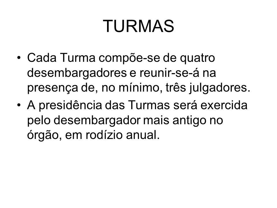 TURMASCada Turma compõe-se de quatro desembargadores e reunir-se-á na presença de, no mínimo, três julgadores.