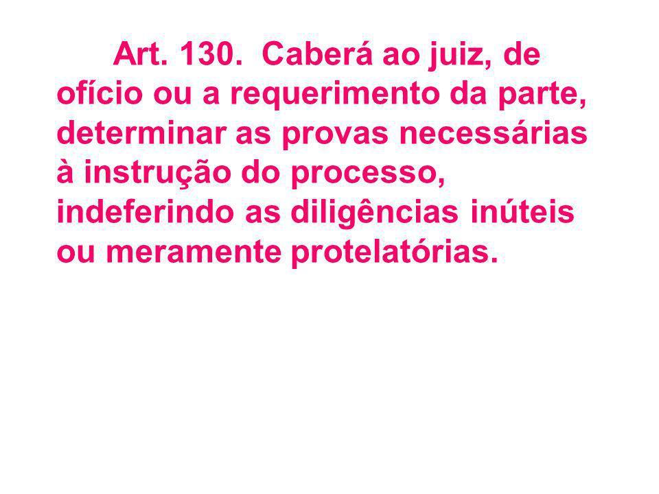 Art. 130. Caberá ao juiz, de ofício ou a requerimento da parte, determinar as provas necessárias à instrução do processo, indeferindo as diligências inúteis ou meramente protelatórias.