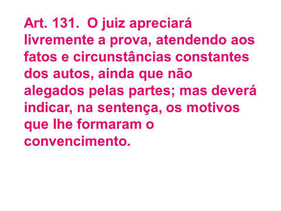Art. 131. O juiz apreciará livremente a prova, atendendo aos fatos e circunstâncias constantes dos autos, ainda que não alegados pelas partes; mas deverá indicar, na sentença, os motivos que Ihe formaram o convencimento.