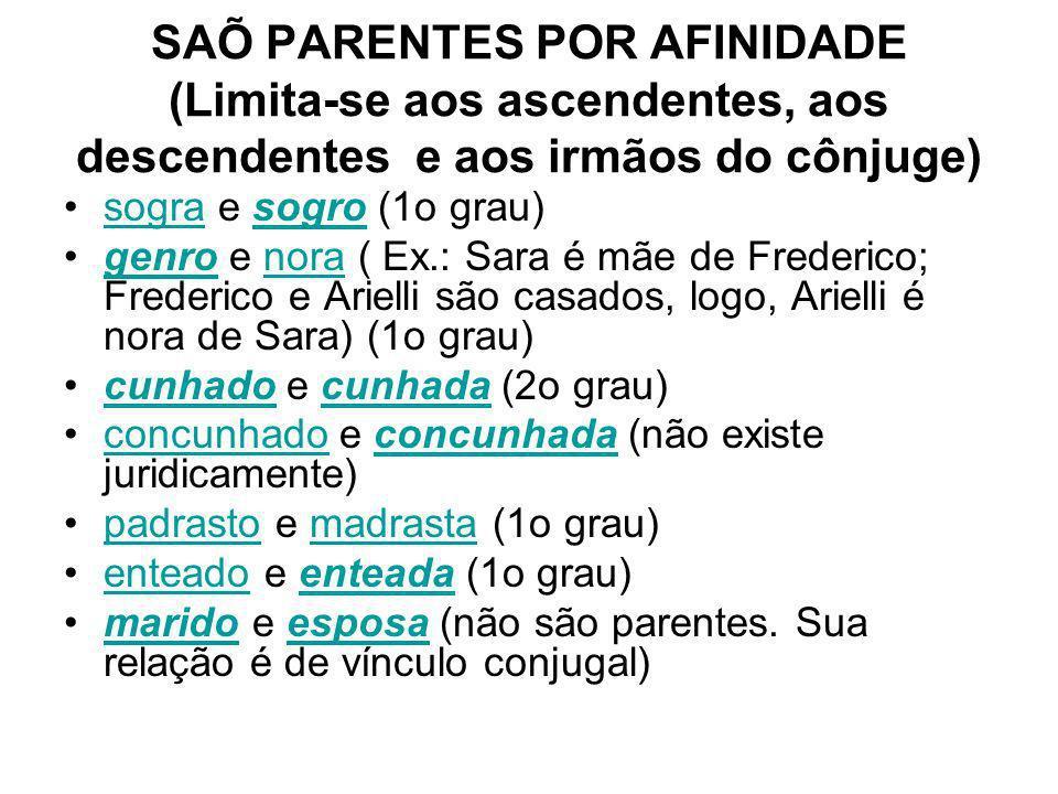 SAÕ PARENTES POR AFINIDADE (Limita-se aos ascendentes, aos descendentes e aos irmãos do cônjuge)