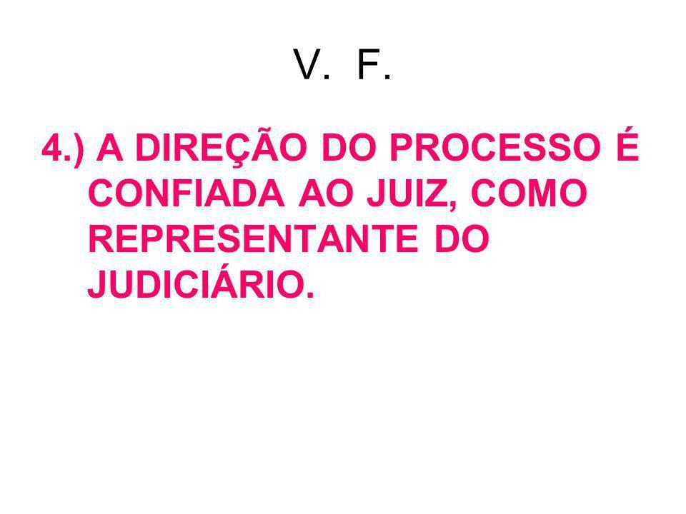V. F. 4.) A DIREÇÃO DO PROCESSO É CONFIADA AO JUIZ, COMO REPRESENTANTE DO JUDICIÁRIO.