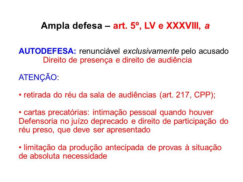 Ampla defesa – art. 5º, LV e XXXVIII, a