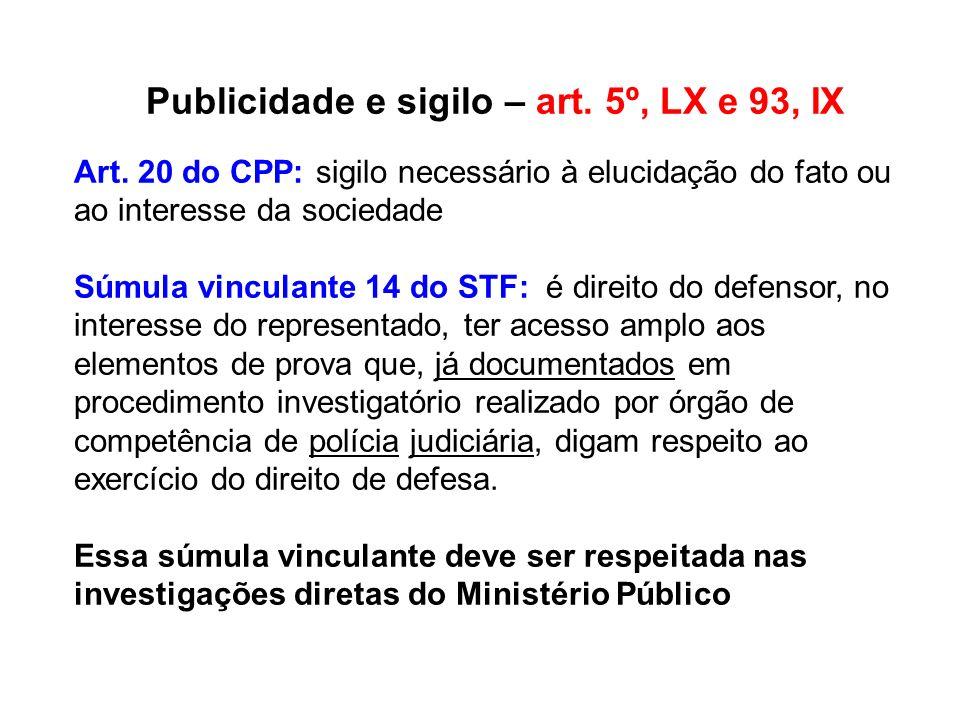 Publicidade e sigilo – art. 5º, LX e 93, IX