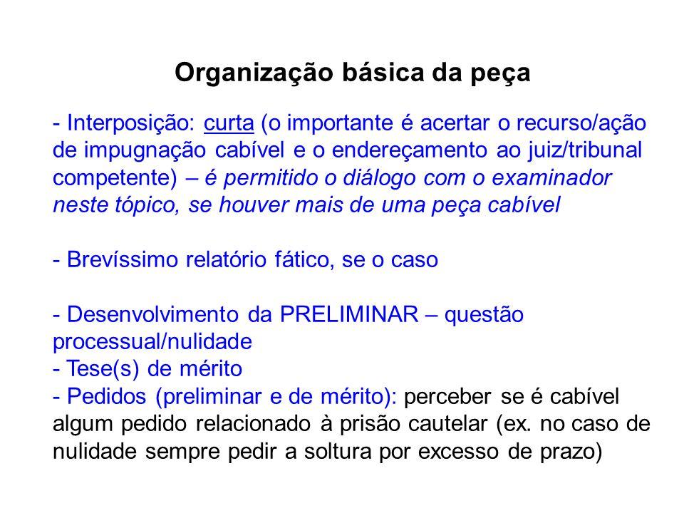 Organização básica da peça
